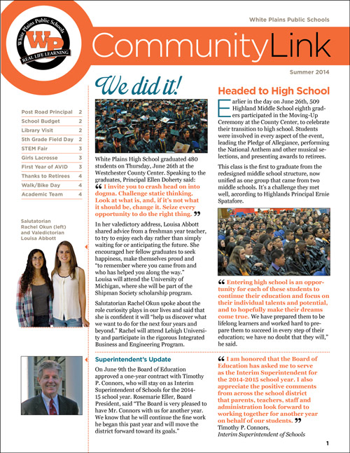 District newsletter for White Plains City Schools